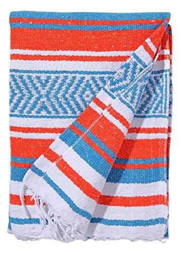 El Paso Designs Mexican Yoga Blanket   Colorful Falsa Serape   Park Blanket, Yoga Towel, Picnic, Beach Blanket, Patio Blanket, Soft Woven Saddle Blanket, Boho Home Décor (Aruba)
