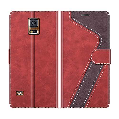 MOBESV Handyhülle für Samsung Galaxy S5, Samsung Galaxy S5 Neo Hülle Leder, Samsung Galaxy S5 Klapphülle Handytasche Case für Samsung Galaxy S5 / Galaxy S5 Neo Handy Hüllen, Modisch Rot