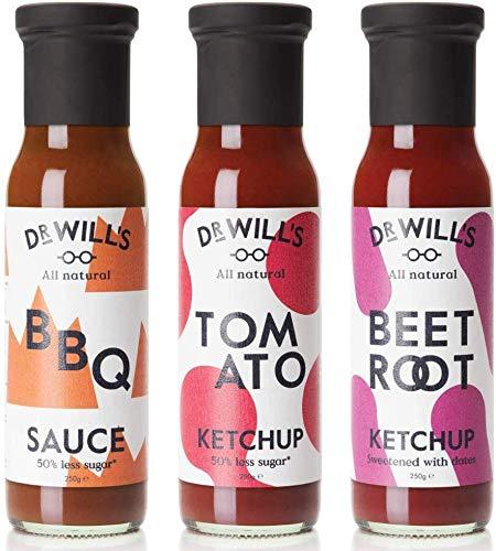 Dr Will's Tomato Ketchup, Ketchup di Barbabietola e Salsa BBQ - Senza Glutine o Lattosio, Ideale per dieta Keto - 3 x 250g Bottiglie