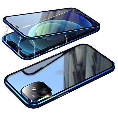 Funda para iPhone 12, funda magnética, 360 grados, antigolpes, marco de metal, funda transparente de vidrio templado con protector de cámara, funda completa para iPhone 12 5G, color azul claro