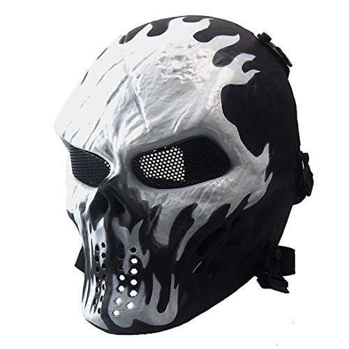 Anyoupin Paintball Mask,Skull Full Face Airsoft Mask with Mesh Army Fans Supplies M06 Tactical Mask for Halloween Paintball Airsoft CS Game Cosplay and Party WI