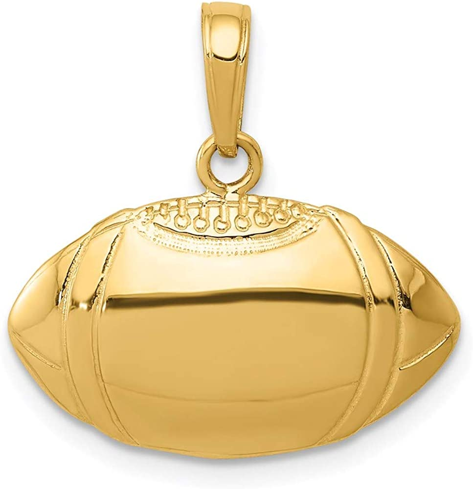 14k Yellow Gold Football Profile Pendant Charm Necklace Sport Fine Jewelry For Women Gifts For Her
