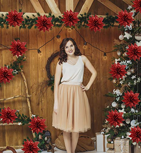 Sayala 24Stücke Christbaumschmuck Glitter Poinsettia Weihnachtsschmuck Baumschmuck Künstliche Weihnachten Blumen Deko für Weihnachtsbaum Weihnachtskranz
