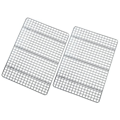 Checkered Chef Cooling Rack - Set of 2 Stainless Steel, Oven Safe Grid Wire Racks for Cooking & Baking - 10' x 15'