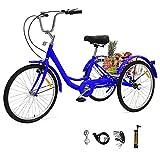 UFLIZOGH - Bicicletta a 3 ruote con cestino, ruote da 61 cm, telaio in lega, per adulti e anziani, Unisex - Adulti, Blu, 24 inches