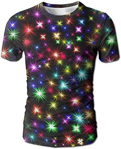 January Fireworks Men's 3D Full Printed T Shirt Casual Short Sleeves Tees S M