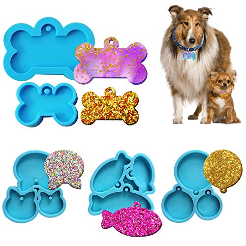 FEBX 5PCS Dog Bone Shaped Tag Molds for Resin, Dog Cat Tag Resin Molds,Cat Shaped Little Fish and Round Keychain Epoxy Casting Molds for DIY Jewelry Making Pet Tag Pendant Pet Supplies