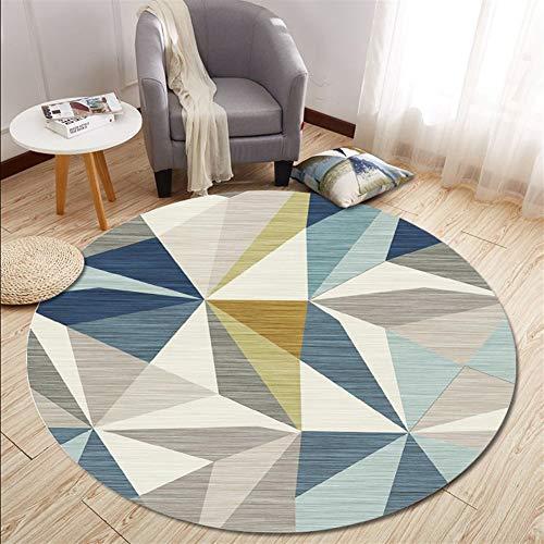 Ommda Tappeto Moderno Salotto Tondo Stampato Geometrico tappeti Rotondi Antiscivolo Lavabili con Fondo in Gomma,YXDT03-10,100cm