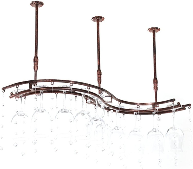 WAN SAN QIAN- Ingreened Wine Glass Holder Decoration Living Room Decoration Cup Holder Hanging Simple Wine Rack European Creative High-end Cup Holder Wine Rack (Size   S 65cm19cm)
