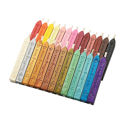 Gobesty Siegellack Sticks, 26 Stück 26 Farben mit Dochte Vintage Wachs Siegel, Für Wachs Siegel Stempel Buchstaben Briefmarken