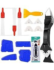 13 Stks Sealant Afwerking Tool Set, XCOZU Siliconen Remover Tool Grout Scraper Caulking Tool Kit/Mastiek Tool, 3 in 1 Siliconen Smoothing Tool met 4 Vervangbare Pads, Plastic Scraper en Nozzles