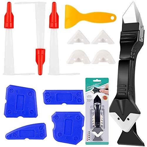 XCOZU 13 Piezas Juego de Herramientas de Acabado de Sellador, 3 en 1 Herramienta de Suavizado de Silicona con 4 Almohadillas Reemplazables, Raspador de Plástico y Boquillas