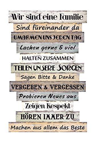 BigDean Holzschild Wandbild groß mit Sprüchen - 51 x 33 cm - Wand Deko mit Familienregeln - Vintage Shabby Chic - Sprüche Schilder Plankenschild Familie