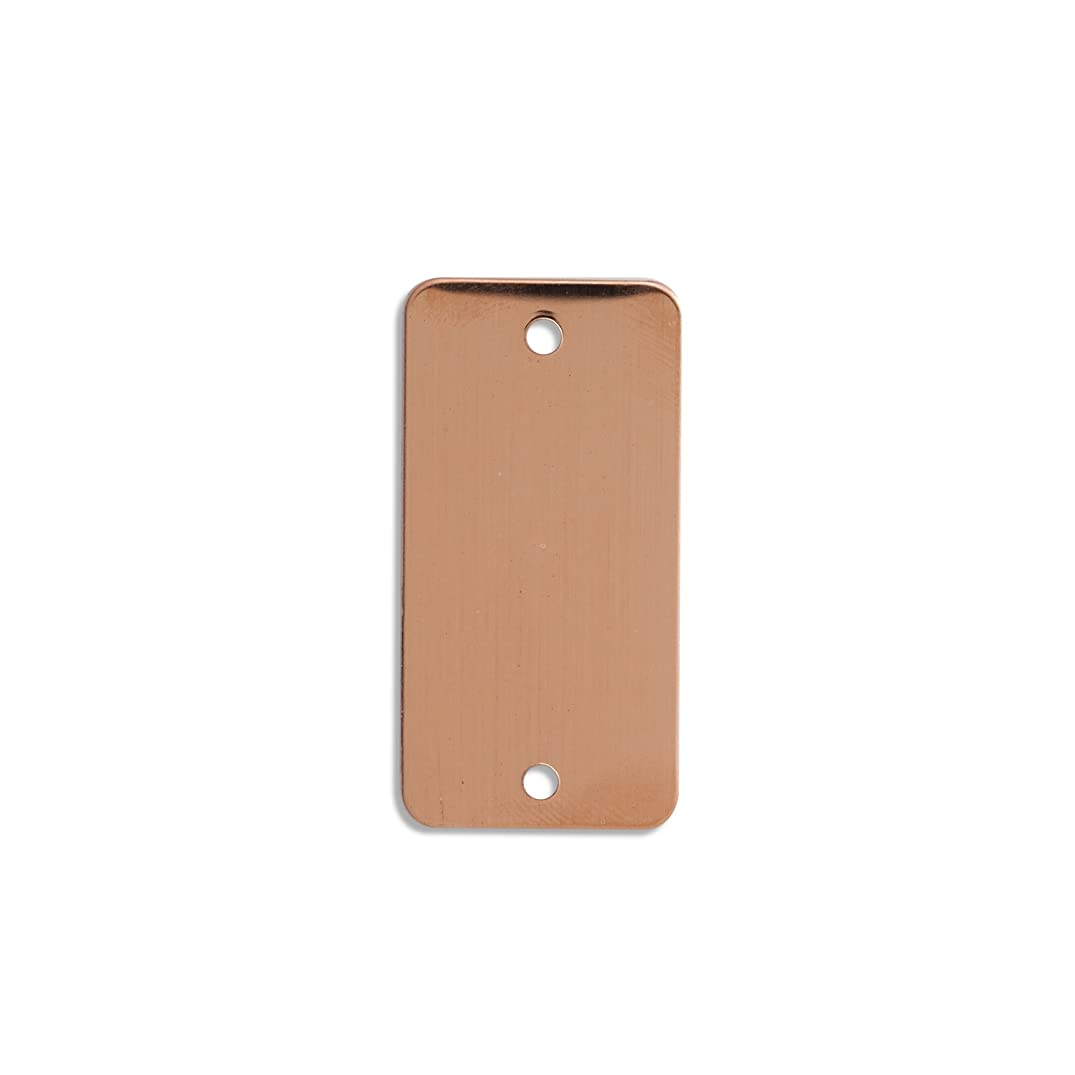 RMP Stamping Blanks, 1 Inch X 2 Inch Rectangular Radius Corner w/ 2 Hole, 24 Oz. Copper.032