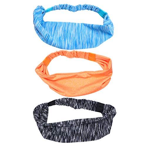 Beaupretty 3 Stück Yoga Elastisches Stirnband Breiter Schweiß Absorbieren Haar Reifen Kopfwickel Kopfbedeckung Kopfbedeckung für Radsport Laufsport (Blau Orange Grau)