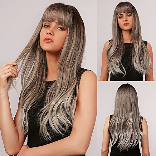 BOGSEA Ombre Gray Wig with Bangs Long Ombre Gray Wigs for Women Synthetic Wigs for Daily Party (Ombre Gray)