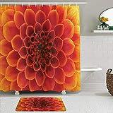 Mozenou Stoff Duschvorhang & Matten Set,Abstrakte Blumen & Blütenblätter Saisonale Blüte Close Up Gardens,Wasserabweisende Badvorhänge mit 12 Haken,rutschfeste Teppiche