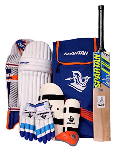 SPARTAN Men's Kashmir Willow Cricket Complete Kit Full Size Batting Set with Accessories