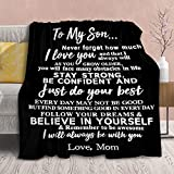 to My Son Blanket from Mom Personalized Gift for Man to Be Dad Husband,Soft Throws Courage...