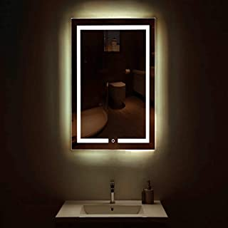 YANGMAN-L LED Backlit Illuminated Mirror Wall Mounted for Bathroom Makeup Hardwired Bright White Light Behind Rectangular Inset Frosted Glass for Flattering Glow,24x32inch