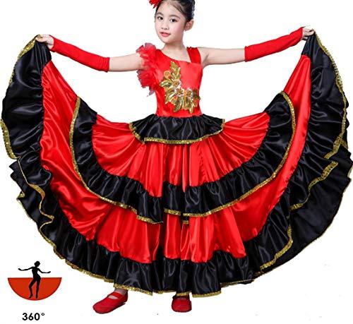 SMACO Spanische Kostüm Mädchen Lange rote Flamenco Kleid Ballsaal Rock für Mädchen Kind Tanzkleider Kostüme für Kinder Kleidung,360°,140CM