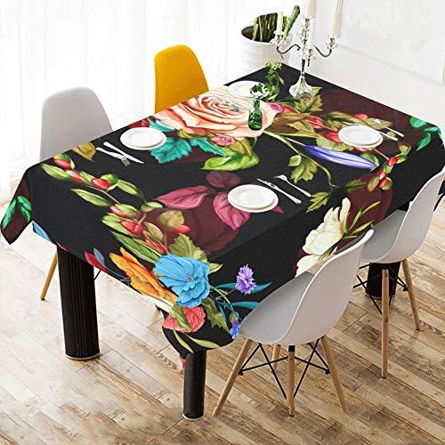 Enhusk Actividad para ninos Pano de Mesa Flor de Granada Estampado de algodon Rosa Manteles de Mesa Cubierta de Tela Mantel para Cocina Comedor Decoracion 60x84 Pulgadas Pano de Mesa cosmetico