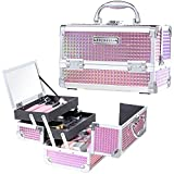 Frenessa Makeup Train Case Cosmetic Organizer Box Lockable with Keys and Mirror 2-Tier