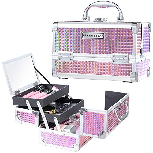 Frenessa Makeup Train Case Cosmetic Organizer Box Lockable with Keys and Mirror 2-Tier Tray Portable Carrying with Handle Travel Storage - Pink