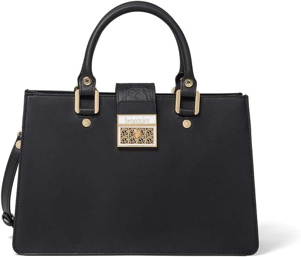 Braccialini, borsa da donna a mano con tracolla ,in pelle liscia con banda centrale stampata a caldo B13933