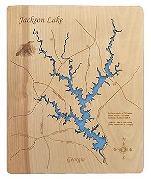 Jackson Lake Georgia  Standout Wood Map Wall Hanging