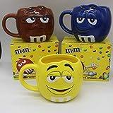 xingfuankang Cartone Animato M Chicchi di Cioccolato Tazze Ceramica Tazza da caffè Grande capacità Bicchieri Divertente Espressione Carina Mark M&M S Tazze Tazze da caffè-Giallo