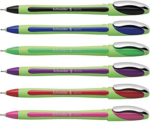 Schneider Xpress Fineliner Pens 0.8mm Assorted Colors - Pack 6