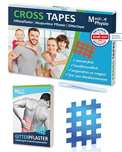 Gitter-Tapes Premium von MediPhysio - Crosstapes Gitterpflaster, Schmerzpflaster Gitter - Energy Tape inkl. Pinzette und eBook (Buch Gittertapes) - DERMATEST: SEHR GUT - Typ B mittel