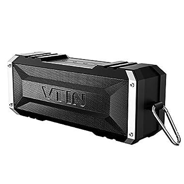 Vtin 20 Watt Waterproof Bluetooth Speaker, 25 Hours Playtime Portable Outdoor Bluetooth Speaker, Wireless Speaker for iPhone, Shower, Pool, Beach, Car, Home-Pure Black