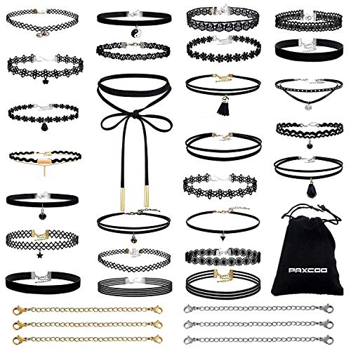PAXCOO 32 PCS Choker Necklaces Set Including 26 Pcs Black Choker Necklaces and 6 Pcs Extender Chains for Women Girls