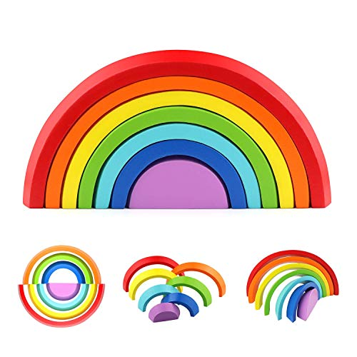 Arco Iris de Madera Juguete Educativo Preescolar Juguete Educativo Puzzle Educativo Apilamiento Juego Apilador para niños
