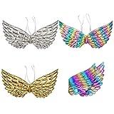 Kids Angel Wings Soft Shiny Metallic Fairy Wings Halloween Fancy Dress Cosplay Costume Accessories (Golden)