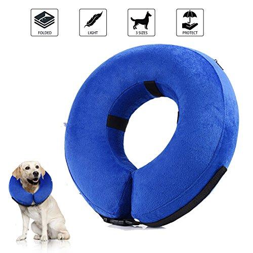 Collar de recuperación inflable para perros, cono de cuello isabelino ajustable para mascotas Recuperación de cirugía o heridas (S)