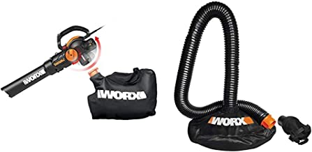 WORX WG512 Trivac 2.0 Electric 12-amp 3-in-1 Vacuum Blower/Mulcher/Vac, Black and Orange & WA4054.2 LeafPro Universal Leaf Collection System for All Major Blower/Vac Brands