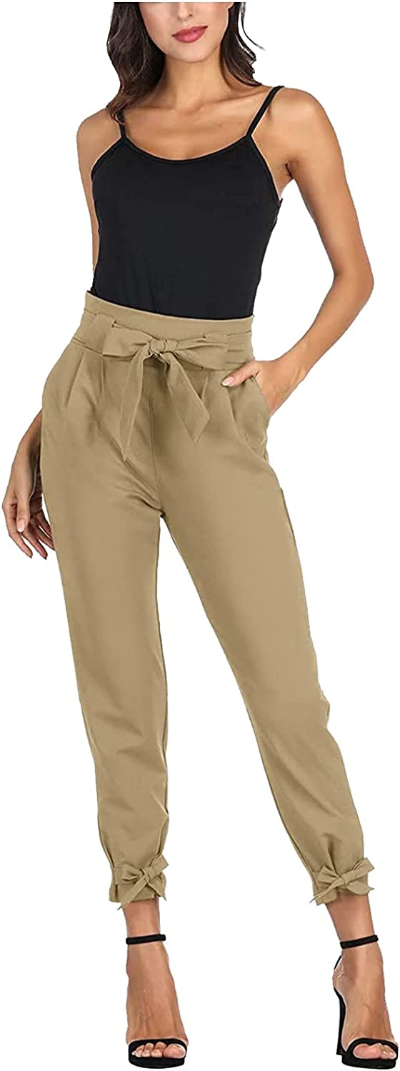 Euone_Clothes Women Pants for Work Plus Size, Women's High Waist Pencil Pants with Bow-Knot Pocket Party Casual Pants