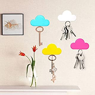 Pack of 4 Blue White Yellow Pink Creative Novelty Cute Cloud Shape Magnetic Magnets Key Holder Wall Keychains Hanger Home office Decoration