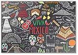 Imán para nevera con ilustración de dibujo de México