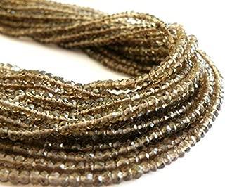 "Jewel Beads Natural Beautiful jewellery Smoky Quartz Rondelle Gemstone AAA Chocolate Brown 3.5mm 8"" FULL StrandCode:- JBB-33047"