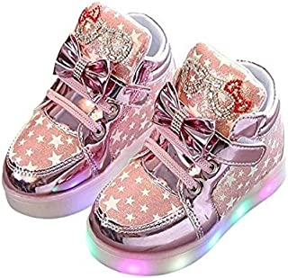 Bold N Elegant PU Leather Star Print Flashy Light Up LED Sneaker Shoes Mini Boot for Toddler Girl 1yr 2yr