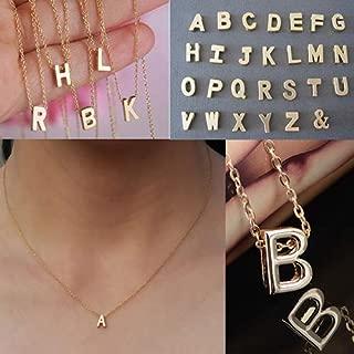 Bluelans Women Gold Tone 26 Letters Initial Alphabet Personalized Charm Pendant Necklace D