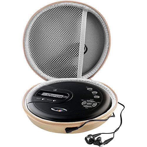 Portable CD Player Case Compatible with GPX PC332B丨 PC807B丨 NAVISKAUTO丨 Gueray丨 HOTT 丨 Monodeal丨 Jensen Personal Compact Disc Player, Travel Carrying Stoarge Holder for Earphone and USB Cable - Gold