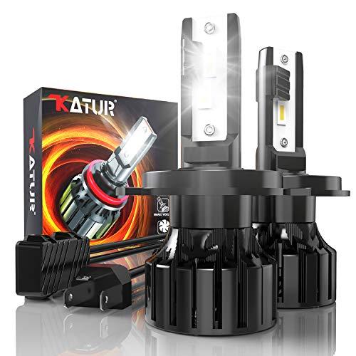 KATUR Ampoule H4 Led, 80W 16000LM 6000K Blanc froid 400% de luminosité Angle de faisceau réglable à 360 degrés Xénon 9003 HB2 Hi/Lo H4 LED Voiture Kit de conversion IP65 étanche, 2 pièces