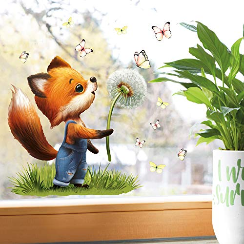 Wandtattoo Loft Fensterbild Frühling Ostern wiederverwendbar Fensteraufkleber Kinderzimmer Fuchs Pusteblume Schmetterlinge Babyzimmer/Fuchs Pusteblume (1031) / 1. DIN A4 Bogen