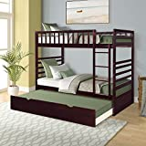 Merax Twin Over Twin Bed Bunk Bed with Safety Rail, Ladder, Trundle Solid Wood Bunk Beds for Kids, Teens Bedroom Bunk Bed (Espresso)