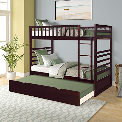 Merax Twin Over Twin Bed Bunk Bed with Safety Rail, Ladder, Trundle Solid